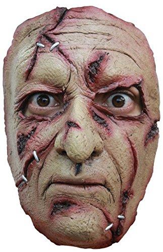 shoperama Halbmaske Serientäter Narbengesicht mit Hakennase Scarface Gruselig Halloween Horror (Narbengesicht Kostüm)