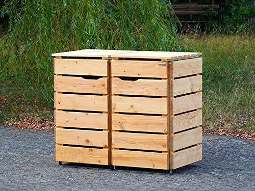 2er Mülltonnenbox / Mülltonnenverkleidung 240 L Holz, Transparent Geölt Weiß - 3