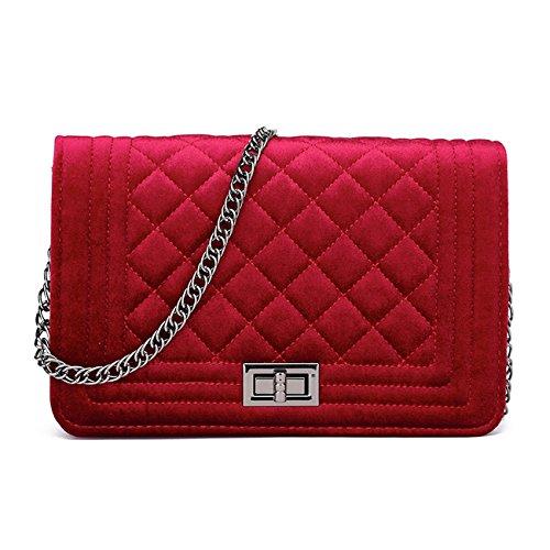 LeahWard Frauen Quilted Samt Kettenriemen Handtaschen Cross Body Handtaschen Tasche Schultertasche 170591 (ROT 24cmX16cm)