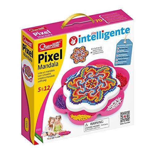 Quercetti 2101 - Mosaik-Steckspiel Pixel Mandala daisy, 1200 Stecker 5mm