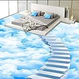 Syssyj Benutzerdefinierte Selbstklebende Boden Mural Tapete 3D Kreative Wolken Schritt Bodenfliesen Malerei Aufkleber Badezimmer Schlafzimmer-350X250CM