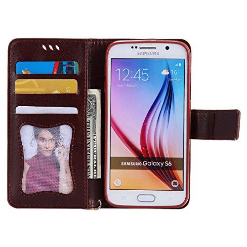 Custodia Galaxy S6 - Cover per Samsung Galaxy S6 - ISAKEN Fashion Agganciabile Luminosa Custodia con LED Lampeggiante PU Pelle Portafoglio Tinta Unita Cover Caso per Samsung S6, Luxury Protettivo Skin Marrone