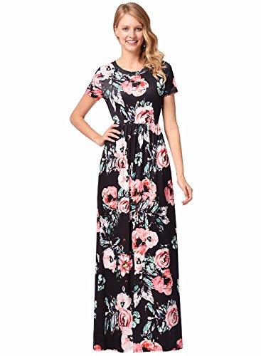 Frauen Seide O-Ausschnitt Kurzarm Blumendruck Lang Maxi Party Strandkleid Schwarz L (Kleid Seide Lange)