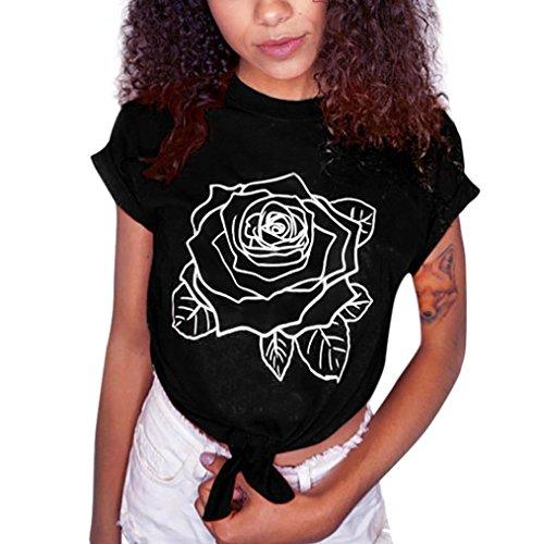 Kolylong Sweatshirt Damen Frauen Elegant Rose Drucken Kurzarm Blusen Vintage Bauchfrei Oberteile Sommer Casual Shirt T-Shirt Tank Tops Tunika Tank Tops (Schwarz, XL) (Leben Tees Lange Ärmel Gut)