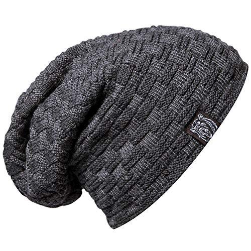 Chalier Winter Slouch Strickmütze Herren, Warme Feinstrick Beanie Mütze mit Sehr Weichem Fleece Innenfutter Unisex Wintermütze