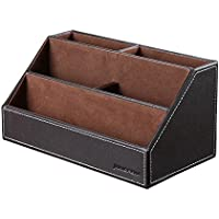 Aussel Multi-functional Pu Leather Desk Organizer Office Supply Caddy with Tissue Box Holder and 4 Compartments for Pencil,Remote Control,Mobile Phone,Business Cards,Cosmetics Holder Organizer by Aussel