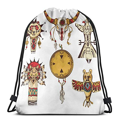 e6abc303c6b7 Jiger Drawstring Tote Bag Gym Bags Storage Backpack, Native American Tribes  Animal Totems Ancient Cultures Sketch Artwork,Very Strong Premium Quality  ...