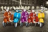 eLITe Vespas–Colorful Roller in Rom Kunstdruck Maxi Poster–61x 91cm