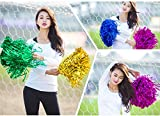 #6: PARTY PROPZ (PACK OF 4 Metallic Shiny MULTICOLOUR Cheerleader Rooter Shaker Toy Pom Poms SET OF 4/ MULTICOLOUR SHINY POM POM/ CHRISTMAS SUPPLIES/ KIDS DRILL POM POM)