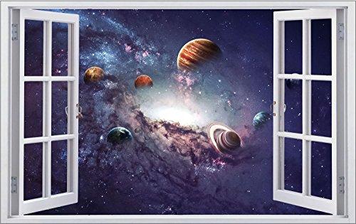 Weltall Universum Planeten Wandtattoo Wandsticker Wandaufkleber F1019 Größe 100 cm x 150 cm (Vinyl-keller-fenster)
