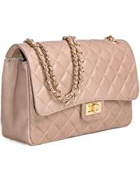 c18240cf4a13 Italian Leather Quilted Designer Inspired Handbag with Gold Trims