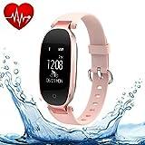Fitness Tracker, tkstar Activity Tracker mit Handgelenk basierend Herzfrequenz Monitor und Blut Druck Smart Armband Schritt Tracker Schlaf Monitor Kalorienzähler Schrittzähler Armbanduhr für Android und IOS, rose gold