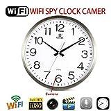 Orologio da Parete Telecamera Spia Wifi Nascosta Microcamera Full HD 1080P Rilevazione di Movimento Telecomando IP DVR con micro SD 32 GB