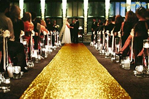 Emblems Größe ft-wedding Gang runner-colour, Glitzer Pailletten Gang Läufer für Hochzeitsfeier Party/Kinder Party Dekoration 3FTx15FT gold ()