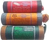 """Incenso tibetano provenienti dal nostro nuovo agente in Nepal a grande richiesta... Questo incenso di qualità è raro e difficile da trovare. Realizzato in alta quota himalayana erbe e piante. Confezione di 3tubi di incenso come segue: ginepro-""""can..."""