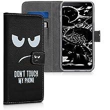 kwmobile Custodia Compatibile con Samsung Galaxy J6+ / J6 Plus DUOS - Cover Magnetica Portafoglio con Stand in Simil Pelle - Case Porta Carte - Don't Touch My Phone Bianco/Nero