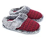 Ofoot Women's Cashmere Knitted & Plush Memory Foam Anti-slip Indoor Slippers with TPR Sole (5-6 UK / Medium, Red with Black Stripe)