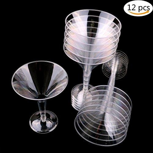 simday Einweg Martini-Gläser, 12Stück Pcs Klar Martini-Gläser, Kunststoff, Cocktail Tassen Martini Gläser, 230ml