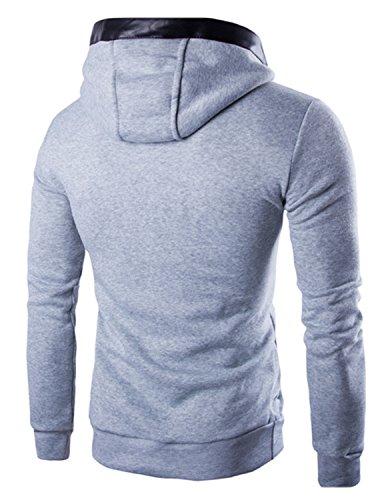 Boom Fashion Herren Kapuzenpullover Langarm slim fit Jacke Kapuze Hoodie Sweatshirt Grau 2