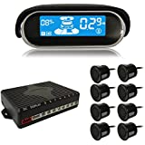 BeneGlow® Dual-core Front and Rear LCD Display Car Vehicle Reverse Backup Radar System with Parking Sensors (8 Sensors, Black)
