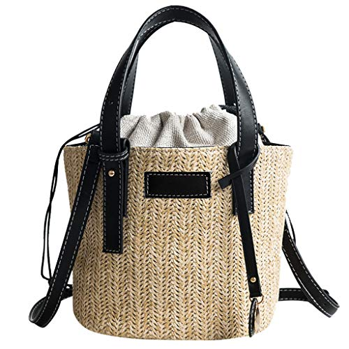 Mitlfuny handbemalte Ledertasche, Schultertasche, Geschenk, Handgefertigte Tasche,Frau Strand Stroh Weaving Umhängetasche Damen Trendy Sommer Bucket Bag Handtasche -