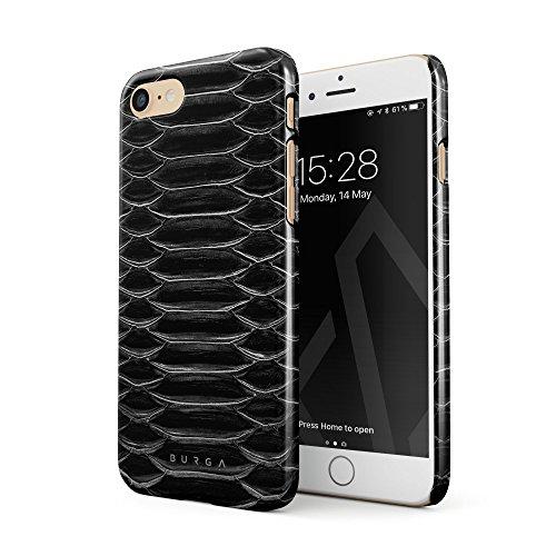 Burga cover per iphone 7 / iphone 8, nero pelle di serpente savage wild black snake skin design sottile, guscio resistente in plastica dura, custodia protettiva