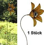 Gartenstecker Blume Typ 2 Rost Design mit Silberkugel - Gartendeko, Terrassendekoration