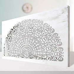 Cuadro Mandala de Pared Calada, Fabricada artesanalmente en España- Mandala 3D Cuadrada Pintada a Mano- Modelo Mosaico 155 (Blanco Envejecido, 80x150)