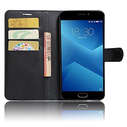 SMTR Meizu M5 note Wallet Tasche Hülle - Ledertasche im Bookstyle in Schwarz - [Ultra Slim][Card Slot][Handyhülle] Flip Wallet Case Etui für Meizu M5 note