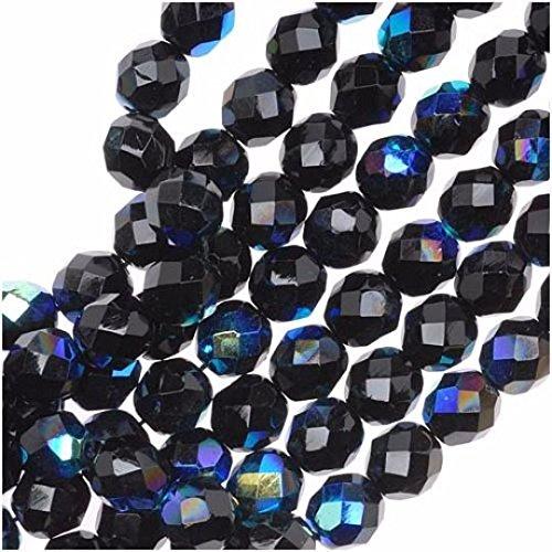 50 Stück Tschechische Facettierten Glasperlen Fire-Polished Rund 7mm, Jet Black AB - Black Fire Glas