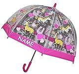 Unbekannt Regenschirm -  Pferde / Tiere  - Kinderschirm transparent incl. Namen - Ø 70 cm - Kinder Stockschirm - für Mädchen Schirm Kinderregenschirm / Glockenschirm ..