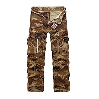 AYG Herren Cargo Hose Camouflage Trousers(sand camo,30)