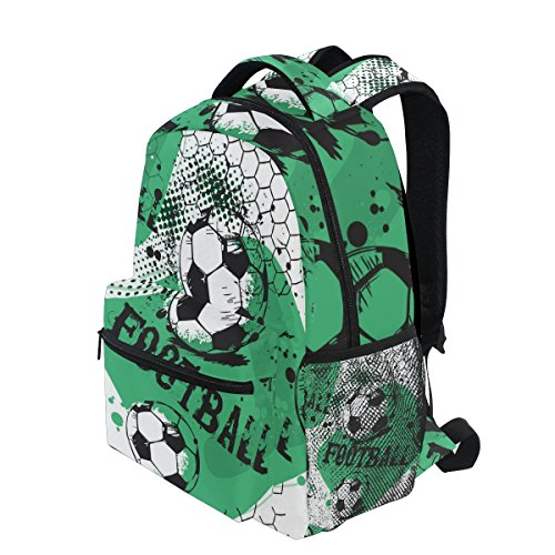 Jeansame Backpack School Bag Laptop Travel Bags for Kids Boys Girls Women Men Vintage Football Soccer Sports Game