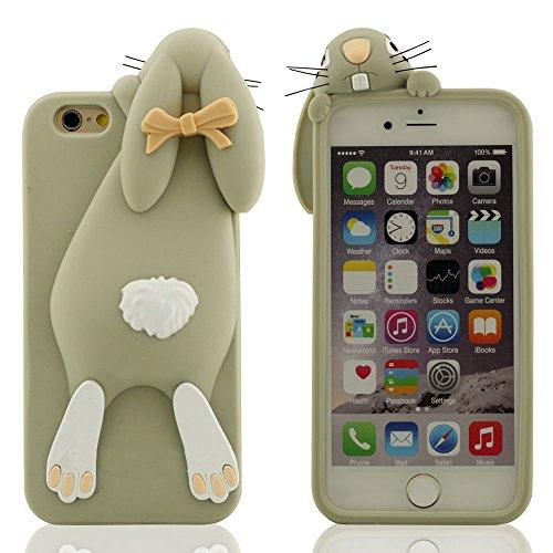 "iPhone 7 Plus Hülle Case, Weich Silikon Cover für Apple iPhone 7 Plus 5.5"", 3D Niedlich Hase Serie Stoßfest Schutzhülle für iPhone 7 Plus Grau"