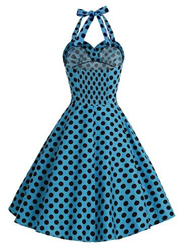 Bbonlinedress modèle 4 Vintage rétro 1950's Audrey Hepburn robe de soirée cocktail année 50 Rockabilly style halter Noir à grand pois blanc