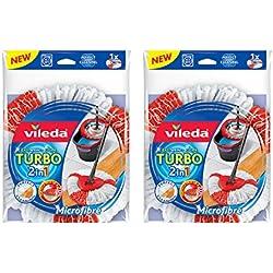 Vileda Easy Wring & Clean Turbo 2en 1Mopa Microfibra Cabeza–Pack de 2, Rojo