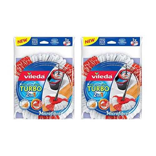 Vileda Mop-Ersatzkopf Turbo 2 in1, einfache Befestigung und Reinigun, 2er pack, Microfibre