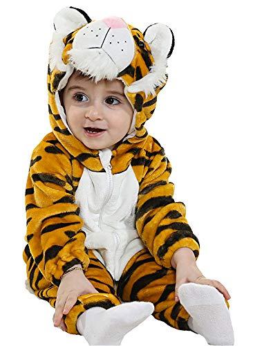 Mombebe pagliaccetto inverno bambino neonato flanella tutine (tigre, 6-12 m)