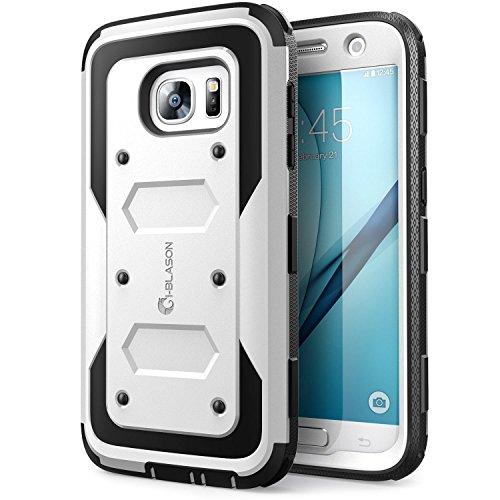 Samsung Galaxy S7 (2016 Release) Hülle, i-Blason [ArmorBox Serie] Case / Cover / Schutzhülle mit integriertem Displayschutz und Gürtel-Clip für Outdoor, Sport (Weiß)