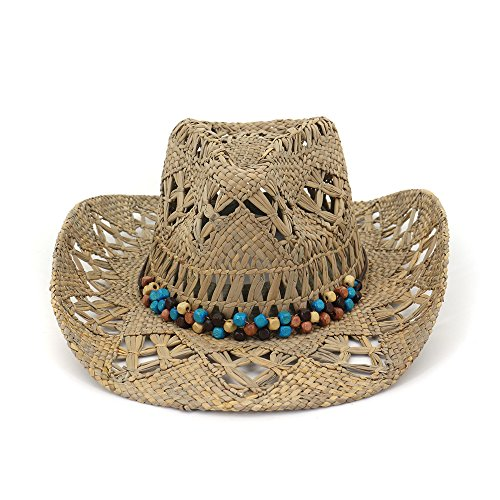 Xuanbao-Hat Frauen Strand Sonnenstrohhüte Stroh Sonnenhut Cowboy Cowgirl Hut Western Outback mit breiter Krempe