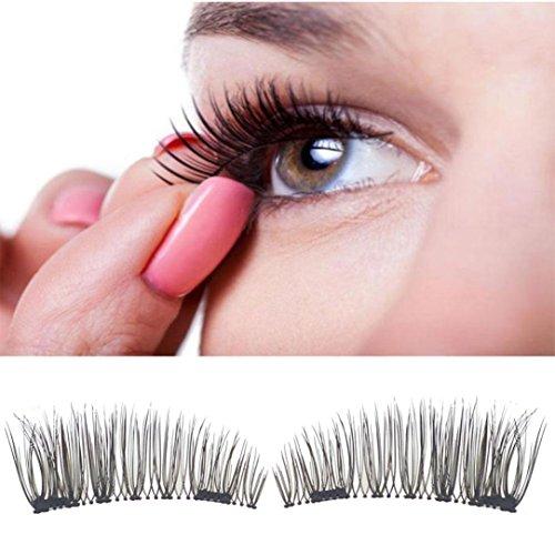Faux Cils 3D Magnétique, Amlaiworld Classique 3D magnétique Faux cils Outils d'extension Maquillage naturel (7-10mm, Noir8)