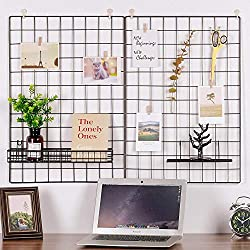 Grid Panel Set of 2, Oucles Grid Mesh Display Panel Decorative Iron Rack Clip Photograph Wall Hanging Picture wall ,Ins Art Display Photo wall, 25.6x17.7 Inches(Black)