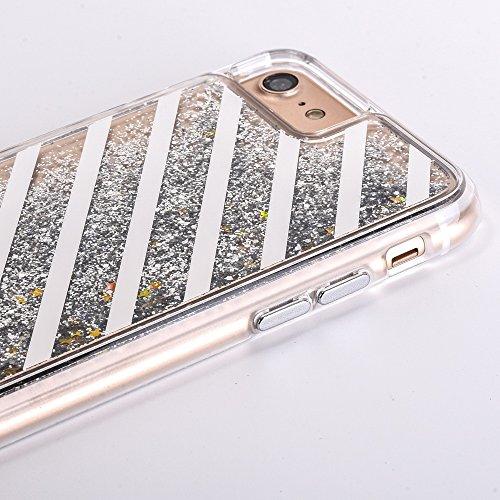 Voguecase® für Apple iPhone 7 4.7 Hülle, Flüssig Fließende Sparkly Bling Glitzer Treibsand Quicksand (Harte Rückseite) Hybrid Hülle Schutzhülle Case Cover (Plating Treibsand/Gitter/Gold) + Gratis Univ Plating Treibsand/Slash/Silber
