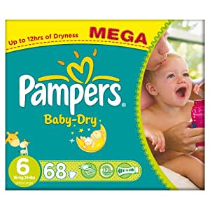 Pampers Baby Dry Nappies, Size 6 (Total 68 Nappies)