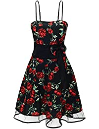 Laeticia Dreams Damen Kleid Rockabilly Blumenmuster S M L XL