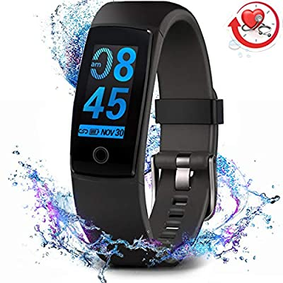 MorePro Fitness Tracker Watch, Updated IP67 Waterproof Activity Tracker with Heart Rate & Blood Pressure Monitor, All-day Step Calories Counter and Smart Notification with Night Sleep Monitor for Women and Men on iPhone and Android. from MorePro