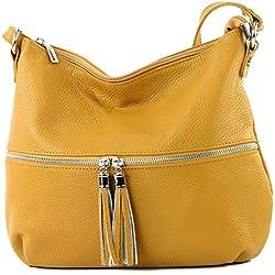modamoda de - Ital Umhänge- / cuir sac à bandoulière T159, Couleur:jaune moutarde