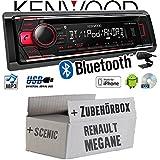 Renault Megane & Scenic 2 - Kenwood KDC-BT510U - Bluetooth CD/MP3/USB Autoradio - Einbauset