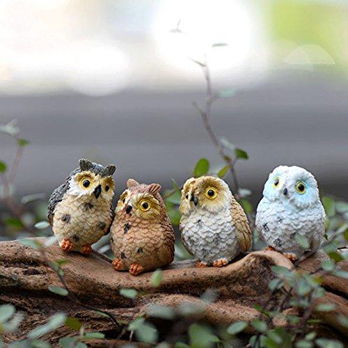Miniatur-Eulen aus Kunstharz zur Gartendekoration, 4 Stk. Gartenornament, Figur, Handwerk, Gartentopfdekoration, Yixuan