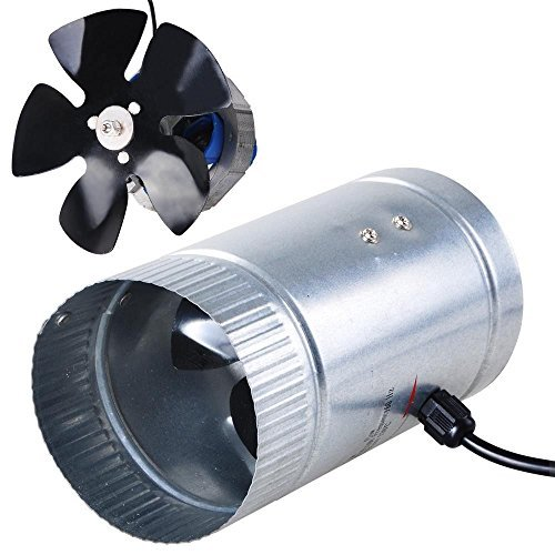 Blower Duct (4 Inline Duct Fan 120 CFM Booster Exhaust Blower Aluminum Blade Air Cooling Ventilation Fans by HYDROPONICA)